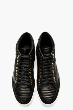 ETQ AMSTERDAM Black Leather Ribbed High-Top Sneakers