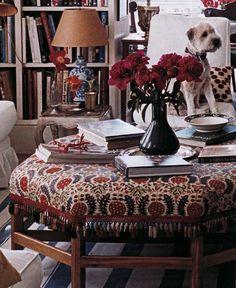 Robert Kime ottoman fabric, suzani, dogs on furniture, traditional twist