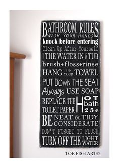 BATHROOM RULES - NEW Vintage Style Typography Word Art Sign- You pick the colors