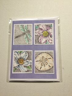"""Handmade, stamped all occasion blank card with hand painted sand dollar, anemones, and a dragonfly on a purple mat. Would make a lovely sympathy card.    This card is 6"""" by 4.5 """".    ~Comes with an envelope in a recloseable plastic sleeve.    ~Left blank inside for you to add your own personal message.    ~We add new unique cards daily, so come visit often!    Monique and Anita want to thank you for growing at MamaGuccis today! 