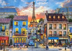 FilomenaPrvni - Art, Painting - Evening in Paris/Podvečer v Paříži Paris Kunst, Paris Art, Luxury Sports Cars, Puzzles, Art Parisien, Paris Canvas, Poster Art, Paris Pictures, Romantic Scenes