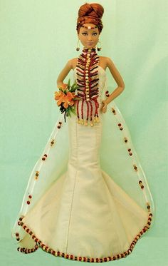 Barbie wearing miniature wedding dress from Therez Fleetwood