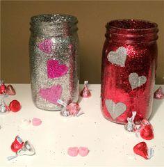 DIY Glitter Jar for Valentine's Day- Add bow and fill w/ candy....wa la :)