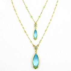 Aquamarine Blue & Peridot Green Dual Teardrop Necklace