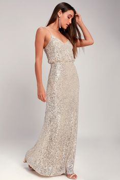 50 Bridesmaid Dresses She Won't Hate! | The Perfect Palette Silver Sequin Dress, Sequin Maxi, Sequin Mini Dress, Gold Sequins, Silver Sequin Bridesmaid Dresses, Silver Cocktail Dress, Cocktail Dresses, Large Size Dresses, Classy Dress