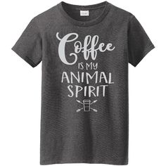 Women's L.A. Imprints Coffee Themed Ladies TeesCoffee Is My Animal... (62 RON) ❤ liked on Polyvore featuring tops, t-shirts, shirts, majice, grey, tops & tees, bleached t shirt, grey shirt, t shirt and embellished t shirts
