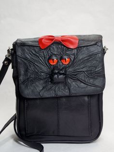 Messenger Bag Black Leather Purse With Face RPG by pippenwycks, $75.00