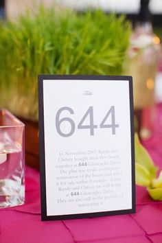 Meaningful Table Numbers  Use birth dates, first date, engagement date.......