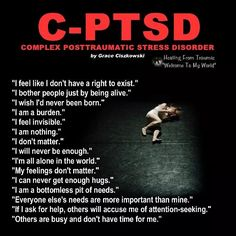 CPTSD complex post traumatic stress disorder veterans trauma quotes recovery symptoms signs truths coping skills mental health facts read more about PTSD at Mental Health Facts, Mental Health Disorders, Stress Disorders, Anxiety Disorder, Mental Illness Facts, Mental Illness Symptoms, Mental Health Problems, Trauma Quotes, Writing Tips
