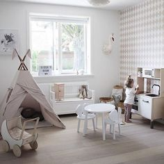 What a stylish playroom ♡ Wow! 🙌🏻 in love! [tepee, pram & swan heads available online] Design Your Own Room, Gender Neutral Bedrooms, Playroom Design, Playroom Decor, Playroom Ideas, Toy Rooms, Bedroom Themes, Kids Bedroom, Bedroom Ideas