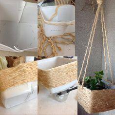 Umgangen Plastikbehälter mit Sisal und in Unterstützung für Vase