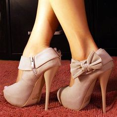 Annabel Ankers: Womens's Shoes Gallery - Ollio Mary Jane Open Toe Side Bow Platform Stiletto Pumps Beige #Lockerz