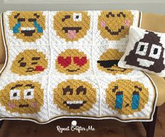 Emoji Blanket pattern with bonus pixel square pills patterns