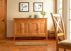 Bring a piece of genuine Vermont craftsmanship into your home today with our traditional American Shaker Large Sideboard. This elegantly modest Vermont made buffet will bring quality and style to your upscale home in an instant. With its solid hardwood construction this spacious buffet is a great storage piece for your dining room or kitchen. Choose from natural solid cherry, maple or walnut hardwood.