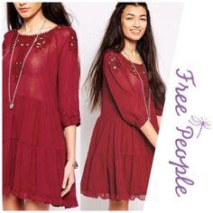 "FP boho ""scarlet"" dress *runs large NWT, runs oversized My dress forms measurements are: bust 34"", waist 26"", hips 35""  Size 6/8 ""medium"" Free People Dresses Mini"