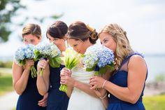 #JohnOrtonFlowersandEvents #HyattRegencyNewport #MStudios #Wedding #NewportRI #NewportWedding #FallWedding #Hydrangea #Blue #CallaLily #Bride #Bridesmaids #Flowers