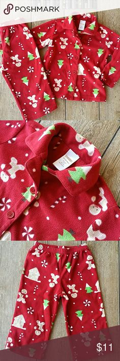 GYMBOREE CHRISTMAS JAMS Red 2 piece flannel PJs Burn down shirt with collar Elastic bottom No rips, stains or matting of flannel Normal wear  Color is darker than showing in pics, closest to color showing size tag Gymboree Pajamas Pajama Sets