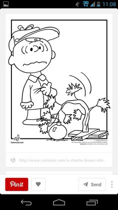 Charlie Brown And His Drooping Christmas Tree Colouring Page