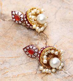 Magenta Meenakari Jhumki Earrings