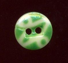 China Stencil Button...Uncommon Pattern #7....Green