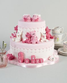 it a girl - This is the baby girl birth cake that I made for my book, happy cake days