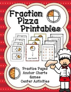Fraction Pizza Printables for introducing fractions in first or second grade.  Our math chapter on fractions is my favorite to teach!
