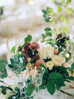 Rich burgundy and white centerpiece: http://www.stylemepretty.com/2015/11/04/charming-borris-house-wedding-in-ireland/ | Photography: Laura Gordon - http://lauragordonphotography.com/