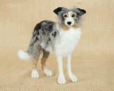 Ranger the Border Collie: Needle felted animal sculpture by The Woolen Wagon