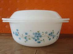 Vintage 70s Arcopal France Casserole /Oven Dish VERONICA Pattern, White Milkglass With Blue Flowers French Kitchenware