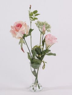 Artificial Flower Display; Lisianthus and Rose Mix in vase, Pink