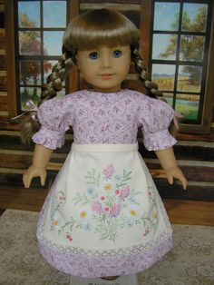 American Girl Kirsten dress and apron made from vintage embroidered linen via Etsy.