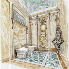 The most important space! #bathroom #watercolor #watercolorsketch #marble #floordesign #walldecor #ceilingdesign #arch_grap#sketchcollector#next_top_architects #archisketcher#arch_more#architecture_hunter #archsketch_watercolorinterior#handdrawn #classicinterior#classicdesigns #luxurystyle#elegancedesign