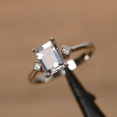 $230.00.....Pink morganite ring emerald cut engagement ring by godjewelry