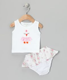Another great find on #zulily! White Owl Tank & Pink Skirted Floral Diaper Cover - Infant by Victoria Kids #zulilyfinds