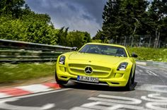 """The 2014 SLS AMG Coupe Electric Drive has set a new record at the famous Nurburgring Nordschleife """"Green Hell"""" north loop. (Germany)"""