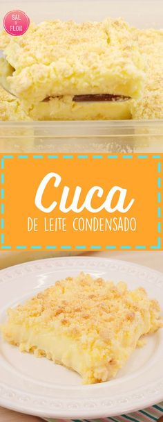 Delícia de receita de Cuca de leite condensado. Crocante por fora e cremosa por dentro. #doce #sobremesa #bolo #farofa #leitecondensado Lemon Bars, No Cook Meals, Pasta, Food Hacks, Vanilla Cake, Sweet Recipes, Food And Drink, Favorite Recipes, Cooking