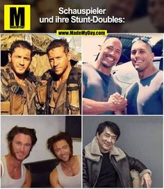 Schauspieler und ihre Stunt-Doubles: - Entertainment Actors and their stunt doubles: Wtf Funny, Hilarious, 420 Memes, Movie Co, Stunt Doubles, Arabic Funny, Work Motivation, Funny Games, Stunts