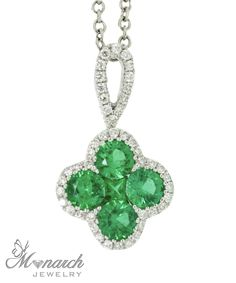 Gregg Ruth collection emerald and diamond pendant and chain; from Monarch Jewelry showroom in Winter Park, Florida.