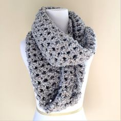 Salted grey extra long infinity scarf