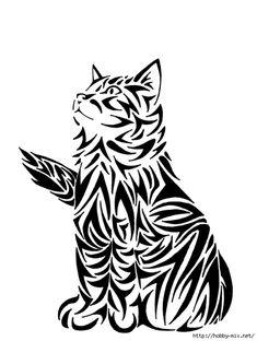 Ажурные трафареты котов   Котеко