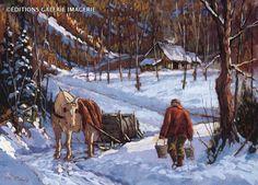 . Winter Landscape, Landscape Art, Landscape Paintings, Winter Painting, Winter Art, Winter Lodge, Sugar Bush, Beautiful Winter Scenes, Farm Paintings