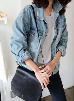 Minimal | Denim | Jacket | Basic | Essential | Outfit | Street Style…