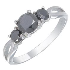 Sterling Silver 3 Stone Black Diamond Engagement Ring 1 CT Size 7 >>> Click image for more details.