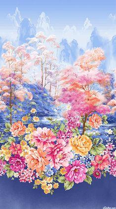 "Garden Grandeur - Peony Spring Landscape - 24"" x 44"" PANEL"