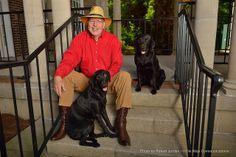 English professor Ben McClelland and his Labrador retrievers. Photo by Robert Jordan/Communications   University of Mississippi College of Liberal Arts