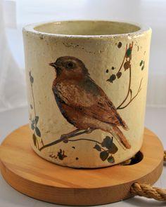 Ceramic Planter with Bird on a Branch.
