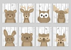 Woodland Nursery Art Woodland Nursery Decor Forest Animal