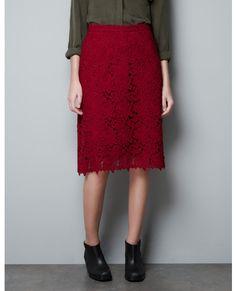 Sukienka z gipurową koronką - Zara