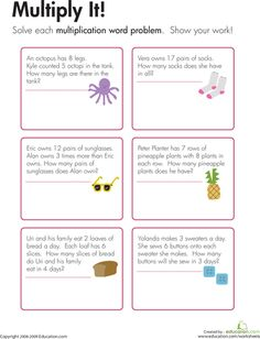 Worksheets: Multiplication Word Problems: Multiply It!