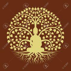 Gold Buddha Meditate Under Bodhi Tree Circle Sign Style Vector. Royalty Free Cliparts, Vectors, And Stock Illustration. Madhubani Art, Madhubani Painting, Buddha Flower, Buddha Tattoo Design, Worli Painting, Peacock Wall Art, Buddha Wall Art, Brain Art, Celtic Tree Of Life